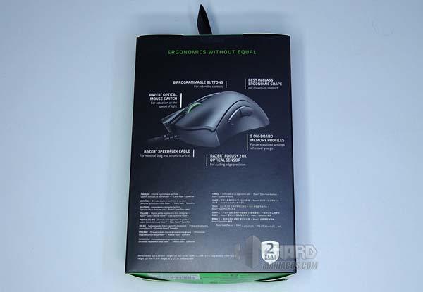 Razer DeathAdder V2, parte trasera caja