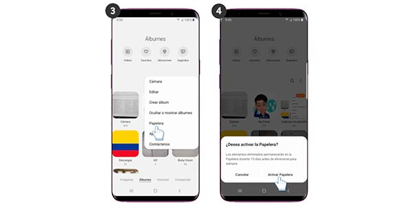 papelera en galeria Android