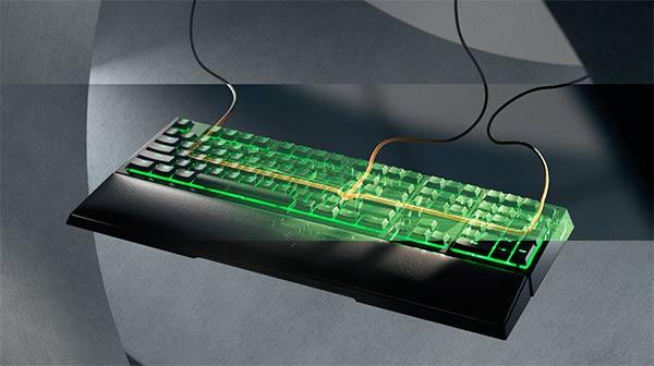 enrutamiento cable en teclado Razer Ornata V2