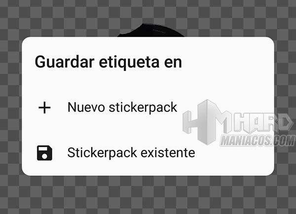 Sticker Studio guardar o crear paquete de stickers