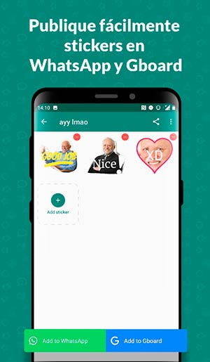 Sticker Studio compartir stickers Whatsapp y Gboard