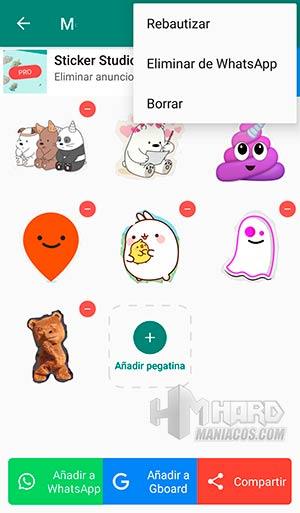 Sticker Studio opciones compartir stickers