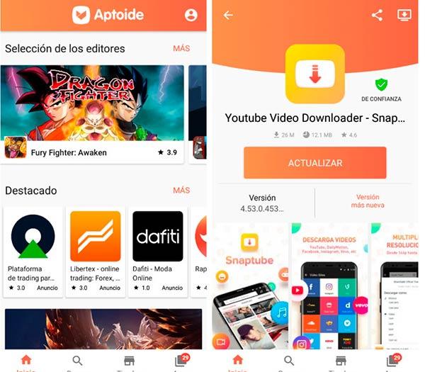 Aptoide tienda de aplicaciones Android