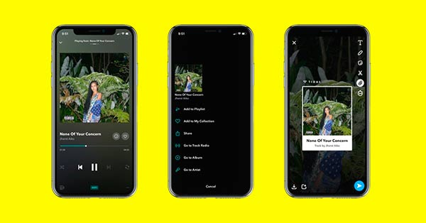 integracion de Snapchat en Tidal portada