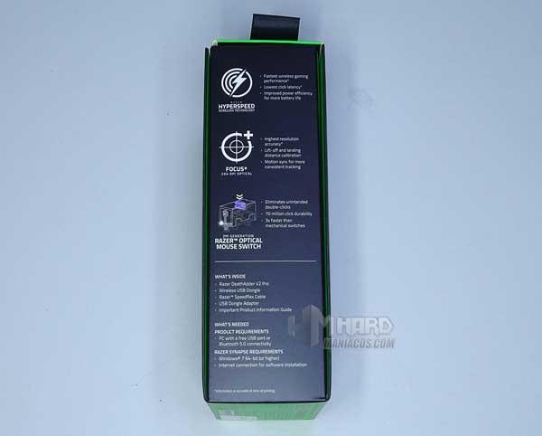 lateral negro caja Razer DeathAdder V2 Pro