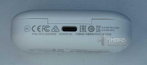 conector USB estuche cargador Razer Hammerhead True Wireless Earbuds Mercury