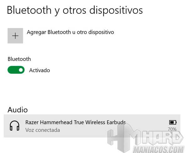 Razer Hammerhead True Wireless Earbuds Mercury conectados en PC y bateria