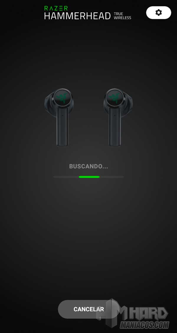 Razer Hammerhead True Wireless Earbuds Mercury app sincronizando