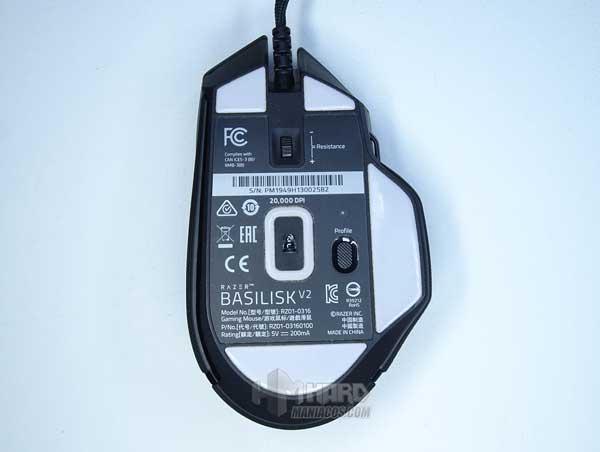 parte de abajo Razer Basilisk V2 sensor