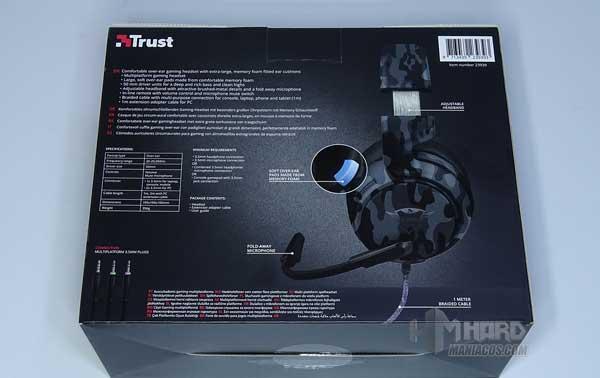 parte de atras caja Trust GXT 433K Pylo