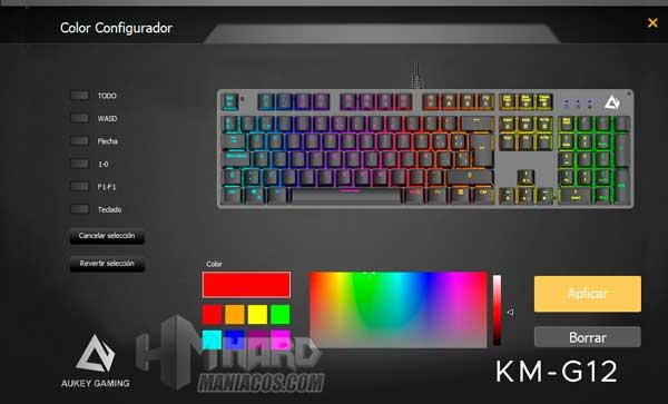 software Aukey KM-G12 iluminacion personalizada