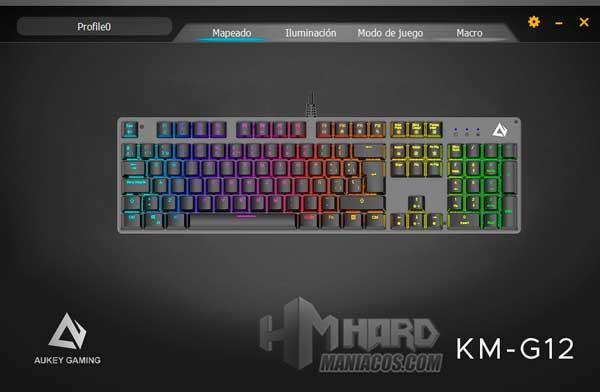 software Aukey KM-G12 Mapeado