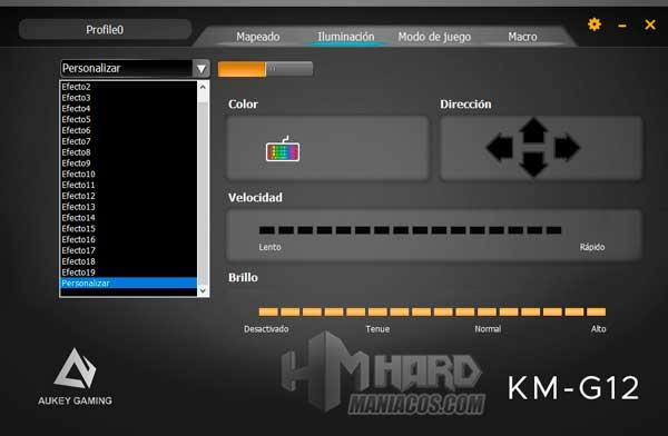 software Aukey KM-G12 Iluminacion