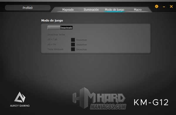 software Aukey KM-G12 Modo Juego