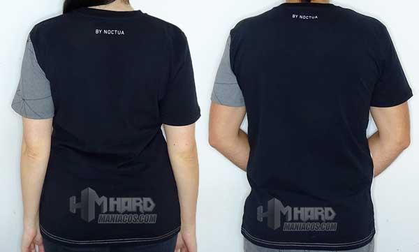 camisetas Noctua NP-T2 puestas de espalda