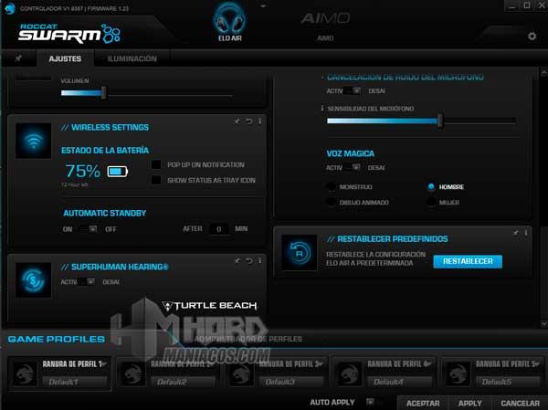 ajustes bateria y microfono software Roccat Elo 7.1 Air