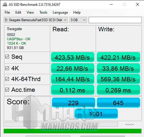 SSD Seagate BarraCuda Fast test AS SSD USB