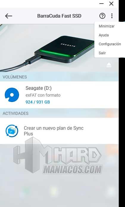 SSD Seagate BarraCuda Fast opciones puntitos