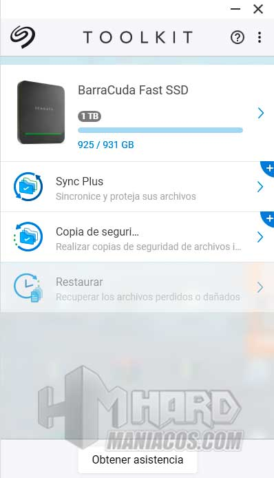 SSD Seagate BarraCuda Fast Toolkit opciones