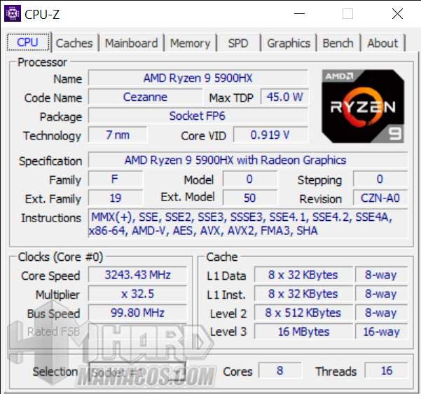 CPUZ ROG Strix SCAR 15 G533