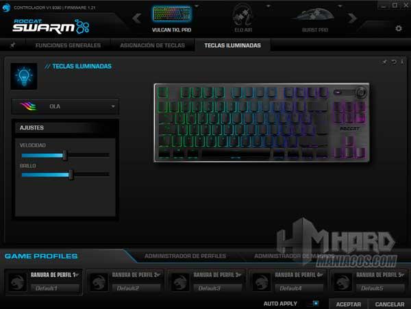 Iluminacion software Roccat Swarm Roccat Vulcan TKL Pro