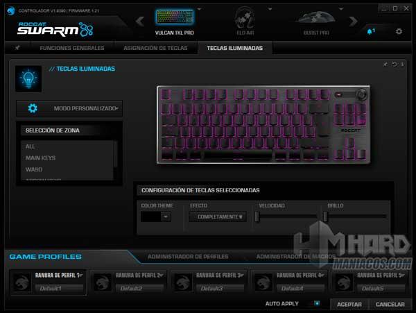 Modo personalizado Roccat Swarm Roccat Vulcan TKL Pro