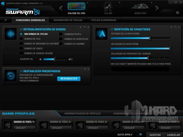 opciones Roccat Swarm teclado Roccat Vulcan TKL Pro