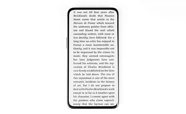 Oppo Under Screen Camera ejemplo texto lectura